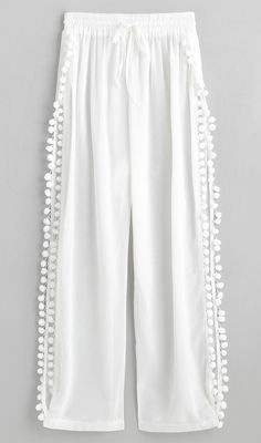 White Slit Pom Pom Sheer Beach Pants Summer Cover-Up Type: Pants Gender: For Women Material: Polyester Pattern Type: Solid Decoration: Slit Waist: High Waisted Source by zaful for women Trendy Outfits For Teens, Summer Outfits, Beach Outfits, White Beach Pants, White Beach Cover Up, Teen Summer, Summer Ray, Summer Beach, Summer Cover Up