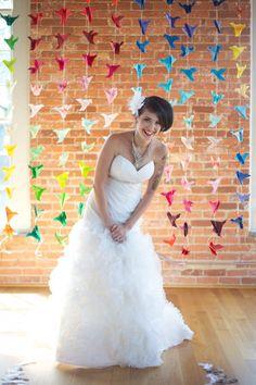 colorful origami crane backdrop for wedding decorations photos