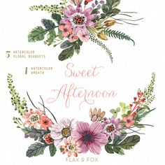 Sweet Afternoon Watercolor Bouquets Wreath hand by flaxandfox