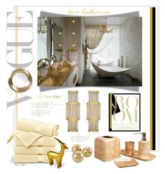 """""""Dreaming in Gold & White"""" by mcheffer ❤ liked on Polyvore featuring interior, interiors, interior design, home, home decor, interior decorating, Brooks Brothers, DwellStudio, Pearl Dragon and bathroom"""