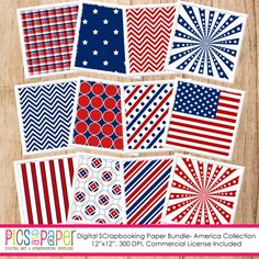 America Paper - 12 digital papers with a 4th of July/Independence Day theme.