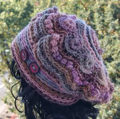 freeform crochet cap,acrylic and wool yarn for girls, women,big beret,colors: pale pink, heather, toffee, roasted wood, gray pigeons