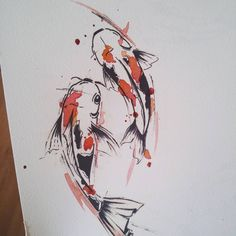 Koi carp tattoo design for a client. Mini Tattoos, Body Art Tattoos, Tattoo Drawings, Art Drawings, Carp Tattoo, Koi Fish Tattoo, Tattoo Ink, Koi Art, Fish Art