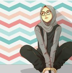 Hijab illustration art Kapal k z izimleri Muslimah anime Hijabi Girl, Girl Hijab, Girl Cartoon, Cartoon Art, Cartoon Design, Hijab Anime, Cover Wattpad, Hijab Drawing, Girly M