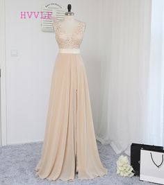 HVVLF Champagne 2018 Prom Dresses A-line V-neck Chiffon Lace Slit Sexy Backless Long Prom Gown Evening Dresses Evening Gown