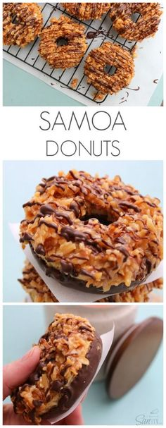 Samoa Donuts are like the real deal Girl Scout cookie but made with a soft buttery bakery donut. Samoa Donuts are like the real deal Girl Scout cookie but made with a soft buttery bakery donut. Delicious Donuts, Delicious Desserts, Yummy Treats, Sweet Treats, Yummy Food, Slow Cooker Desserts, Köstliche Desserts, Dessert Recipes, Desert Recipes