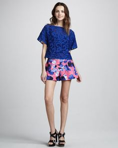Cute!! Cropped Top & Susie Pouf Shorts by Milly at Neiman Marcus.