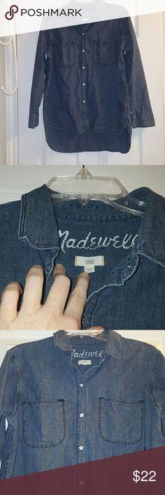 Madewell denim shirt, sz L Light weight denim shirt, worn one. Cute high/low hem. Madewell Tops Button Down Shirts