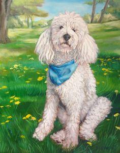 Standard Poodle, custom pet painting. Standard Poodle BffPetPaintings by David Kennett Dog Portraits - Pet Paintings | Dog Paintings | Dog Portraits |Pet Portraits