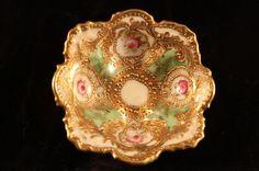 Ornate Nippon China Open Salt Cellar DIP Nut Dish Basket Hand Painted