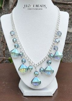 blue green crystal necklace- green crystal necklace- blue crystal necklace-wedding jewelry-crystal statement necklace-waterfall necklace