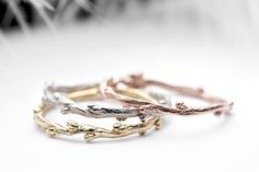 14k yellow, white, rose gold ring set - three skinny twig stacking rings  - In Her Dreams