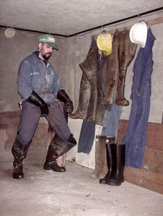 Working Overall and waders. Leather Men, Leather Pants, Brigitte Bardot, Cowboy Boots, Overalls, Working Men, Guys, Workwear, People