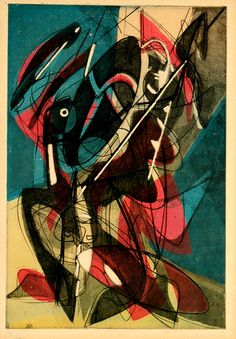 Stanley William Hayter (English, 1901-1988)  Combat (Black/Moorhead 210). Original color etching and aquatint, 1953.