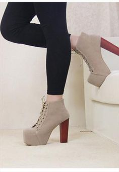 Taupe Chunky Heel Ankle Boot