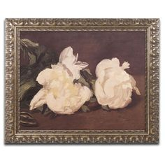 'Branch of Peonies' by Edouard Manet Ornate Framed Art in White
