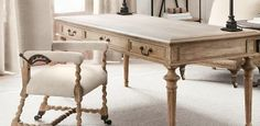 Home Office | Restoration Hardware FRENCH PARTNER'S DESK comes in black oak drifted too