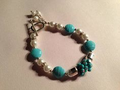 Turquoise Bracelet Pearl Jewelry Cluster Silver by cdjali on Etsy, $30.00