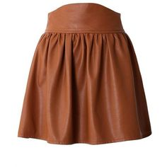 Brown Faux Leather High Waisted Skater Skirt and other apparel, accessories and trends. Browse and shop related looks.