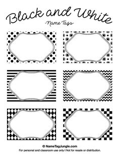 Free printable black and white name tags. The template can also be used for creating items like labels and place cards. Download the PDF at http://nametagjungle.com/name-tag/black-and-white/