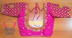 Prabha blouses. Hyderabad. 12-6-211/3 viveknagar kukatpally. Contact :  080999 09996. Silk Saree Blouse Designs, Fancy Blouse Designs, Bridal Blouse Designs, Blouse Patterns, Bridal Sarees South Indian, Maggam Work Designs, Modern Saree, Work Blouse, Embroidery Designs