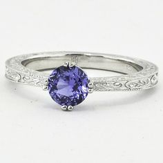 Deep Blue Sapphire Engagement Ring