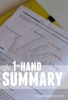 Writing summaries can be difficult! No matter the student's age, the act of reading something, anything, and either retelling or summarizing is really, truly tough. Learn how to help kids write a strong summary with the 1 hand summary teaching idea! Here's how to teach summary writing with the 1-hand summary! #teachmama #writing #summary #writinghelps #teachingtips #writingforkids #kids #school #education #teachingwriting #educationalpost
