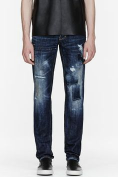 Dsquared2 Blue Ripped & Repaired Jeans for men | SSENSE