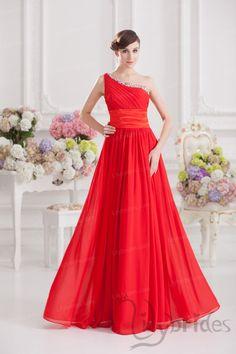A-line One-shoulder Stretch Satin Chiffon Floor Length Prom Dress