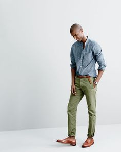 J.Crew men's band-collar shirt in dark chambray, Wallace & Barnes chino in Italian twill, braided leather belt and Ludlow penny loafers.