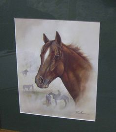 Equine Lithograph, Gorgeous Bay Racing Horse With White Star, Rustic Lodge Decor, Vintage Horse Framed Print, Artist Ruane Manning