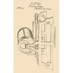 1844 US Patent on Printing Press--Patent Art Print