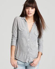 James Perse Shirt - Soft Paneled Stripe Jersey | Bloomingdale's