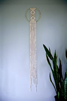 "Macrame Wall Hanging - 45"" Natural White Cotton Rope w/ 8"" Brass Ring - MADE TO ORDER"
