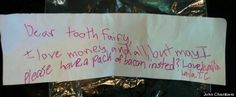 This is still one of our favorite Tooth Fairy Letters. Bacon! #JustForKidsDental #BaconLovers - Just For Kids Dental | #McKinney | #TX | http://ift.tt/1joBuzW