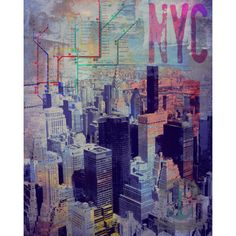 Subway View From the Empire State New York City Transportation Map... ($9.99) ❤ liked on Polyvore featuring home, home decor, wall art, grey, home & living, home décor, skyline wall art, disney home decor, nyc wall art and map home decor