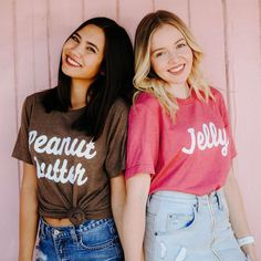 Best Friends Peanut Butter & Jelly Tees / bff shirts / big little gift / greek sorority t shirts Two Person Halloween Costumes, Matching Halloween Costumes, Hallowen Costume, Halloween Outfits, Bff Costume Ideas, Two People Halloween Costumes, Halloween 2017, Halloween Shirt, Halloween Ideas