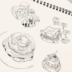 Kpop Drawings, Art Drawings, Food Illustrations, Illustration Art, Arte Sketchbook, Sketchbook Inspiration, Pen Art, Copics, Drawing Sketches