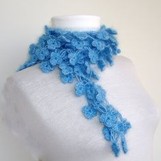 Blue Verbena flower scarves ,neckwarmer,scarflette,cowl | ayca - Crochet on ArtFire