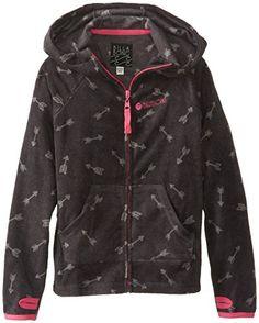 $39 Billabong Big Girls' Sparked Flame Zip Up Fleece, Off Black, Large