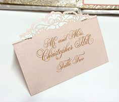 Laser cut place card by Southern Fried Paper