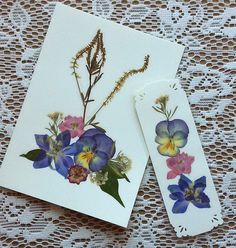 PRESSED FLOWER Card and Bookmark Set  Colorful by MyHumbleJumble