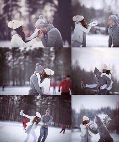 Winter engagement - Love the snowball fight and the blowing of snow at one another.