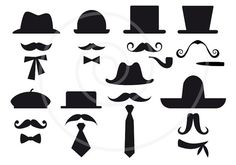 16 mustache silhouettes with hats, digital clip art, clipart, photo booth props, DIY, printable for wedding, party, vector, instant download