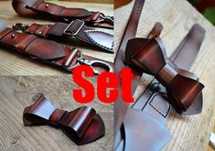 Men`s Set Bow Tie and Suspenders!!! In comments: Write your height and Measurements front belt loop over shoulder to back belt loop (as shown in the picture), end shirt size !!! !!! If you want to Free engrave initials (example K.M. or eat.2017 or K.M. ) on the back suspenders and initials on bowtie , write your initials in the comments!!!  Natural, High-quality leather suspenders and leather bowtie. Each element is 100% hand-made. Good furniture is used. Ideal product for wedding, gift ...