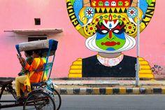 Kathakali street art in Delhi, India [850x567] by Marji Lang : StreetArtPorn