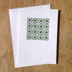 Cross Stitch Card Kit Moroccan Tile Design by VictoriaHenleyDesign