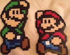 Mario and Luigi Perler Bead Art