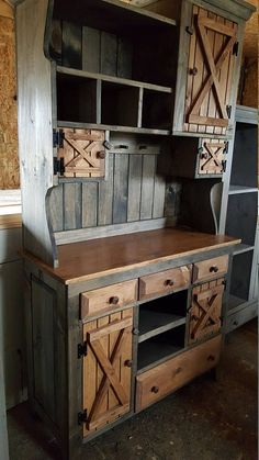 Step back cabinet , primitive furniture / rustic farmhouse furniture / kitchen cabinet hutch buffet / country furniture - Kitchen Furniture Storage Rustic Farmhouse Furniture, Primitive Furniture, Country Furniture, Pallet Furniture, Kitchen Furniture, Furniture Design, Cheap Furniture, Discount Furniture, Pallet Chair