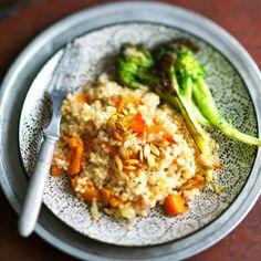 Kurpitsaohratto ja paahdettu parsakaali - Kotiliesi.fi - Barley risotto with pumpkin and broccoli